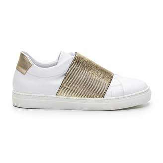 Cosmo Paris COSMOPARIS Leather Low Top Trainers with Gold-Coloured Details
