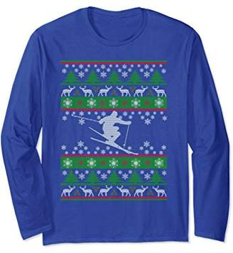 Skiing - Ugly Christmas Sweater Long Sleeve Tee Shirt