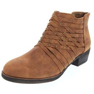 Rampage Women's Tami Woven Strappy Ankle Bootie Boot