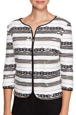 Alex Evenings Quarter-Sleeve Front Zip Jacket