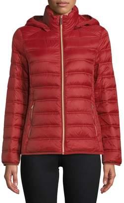 "MICHAEL Michael Kors THE COAT EDIT 25"" Short Packable Burnt Red Jacket"