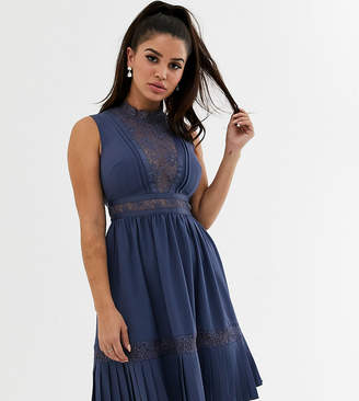 Little Mistress Petite lace yolk mini dress with frill hem in lavender grey