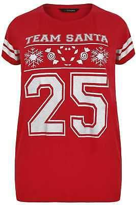 Yours Clothing Women's Plus Size Glittery 'team Santa' Slogan Top With Stripe Sleeves