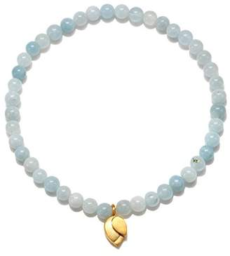 Satya Jewelry Womens Aquamarine Gold Lotus Stretch Bracelet