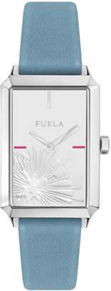 Furla 32mm Diana Rectangular Watch w/ Leather Strap, Light Blue