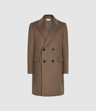 Reiss Milton - Wool Blend Double Breasted Coat in Camel