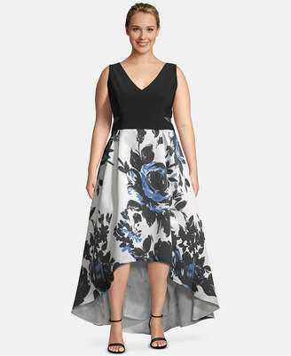 1e2e68ae551 Xscape Evenings Plus Size High-Low Printed-Skirt Gown
