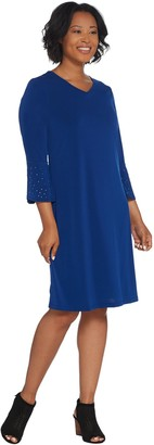 Factory Quacker Stretch Knit Dress with Rhinestone Bell-Sleeves