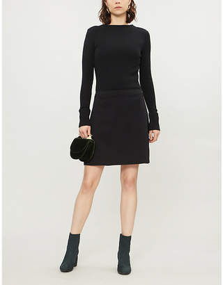 Theory A-line wool-blend and stretch-crepe dress