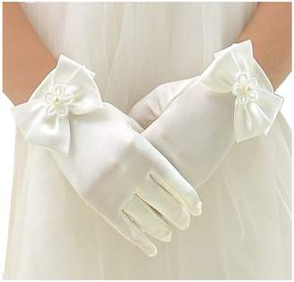 L04BABY Wedding Flower Bow Girl's Stretch Satin Long Gloves(4-12 Years Old)
