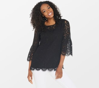Isaac Mizrahi Live! Floral Lace 3/4 Bell Sleeve Tunic