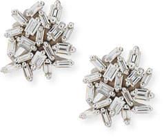 Suzanne Kalan White Baguette Diamond Cluster Earrings in 18K White Gold