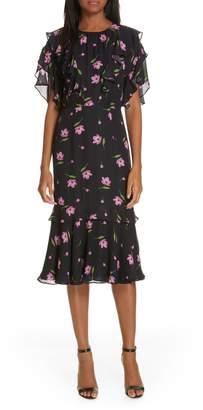 Milly Gia Floral Print Ruffle Silk Dress