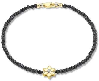 Carissima Gold Women's 9 ct Yellow Gold 0.01 ct Diamond Set Flower Charm on Black Spinel Bracelet of Length 19 cm/7.5 Inch