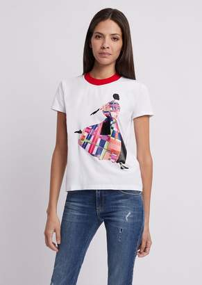 Emporio Armani T-Shirt In Jersey With Colored Print And Contrast Collar