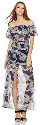 Plumberry Women's Off Shoulder Floral Summer Chiffon Maxi Dresses XS