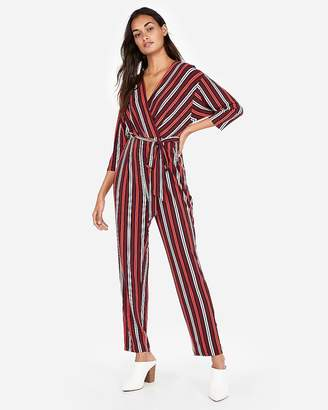 Express Stripe Tie-Waist Surplice Jumpsuit