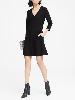Banana Republic Petite Solid V-Neck Fit-and-Flare Dress