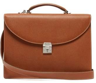 Maddox Palmellato Leather Briefcase - Mens - Brown