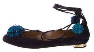 Aquazzura Sunshine Lace-Up Flats