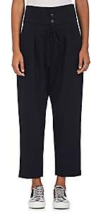 Yohji Yamamoto Regulation Women's High-Waist Wool-Blend Crop Pants - Navy
