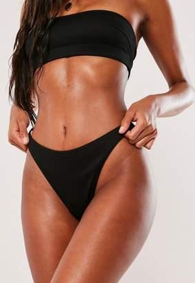 Missguided Black Mix And Match Ribbed Boomerang Bikini Brief