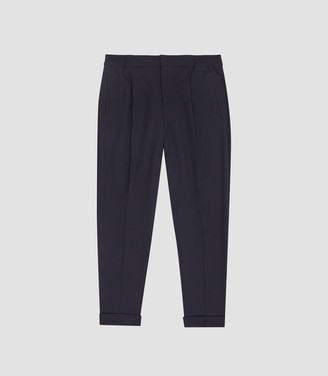 Reiss Tokyo - Linen Pleat Front Tapered Trousers in Navy