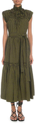 Proenza Schouler Tie-Front Mock-Neck Sleeveless Long Gingham Cotton Dress