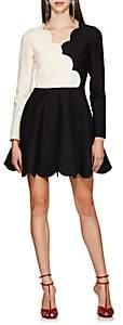 Valentino Women's Scallop-Trimmed Cady Minidress - Wht.&blk.
