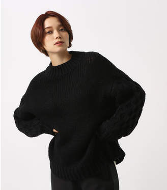 AZUL by moussy (アズール バイ マウジー) - 【AZUL BY MOUSSY】ワッフルスリーブクルーネックプルオーバー 【MOOK48掲載 98012】 BLK