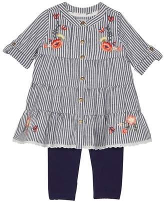 Mantaray Baby Girls' Navy Striped Dress And Leggings Set