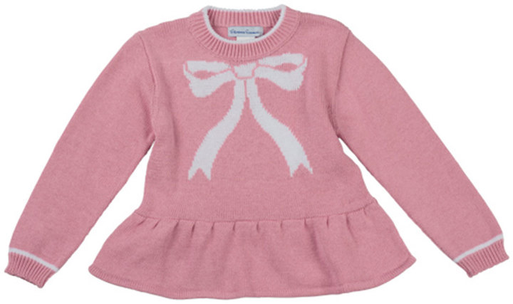 Florence Eiseman Bow-Intarsia Peplum Sweater, Pink, 2T-4T