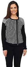 Dennis Basso Asymmetrical Zip Front Sweater w/Raglan Sleeves