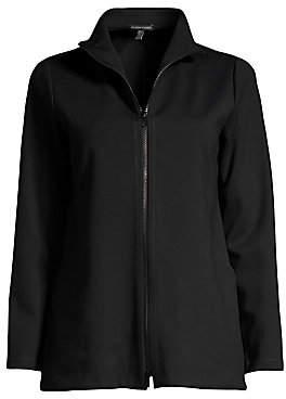 Eileen Fisher Women's Stand Collar Zip-Up Jacket