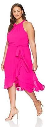 Jessica Howard Plus Size Womens Sleeveless Pleated Halter Neck Wrap Dress