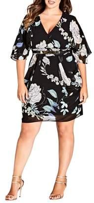 City Chic Flower Show Faux Wrap Dress