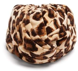 Gucci Leopard Print Velvet Turban Headband - Womens - Brown