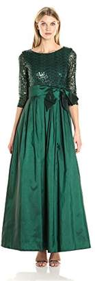 Jessica Howard Women's 3/4 Sleeve Ballgown with Pleated Skirt and Tie Sash $100 thestylecure.com