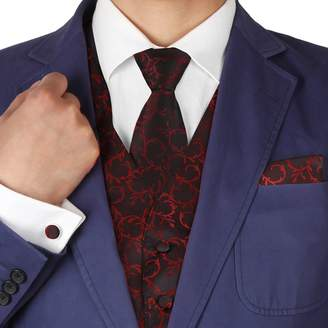 IDEA VS1006-3XL Grey Pattern Vest Mens Tie Cufflinks Hanky Bowtie Dad Gift By Y&G