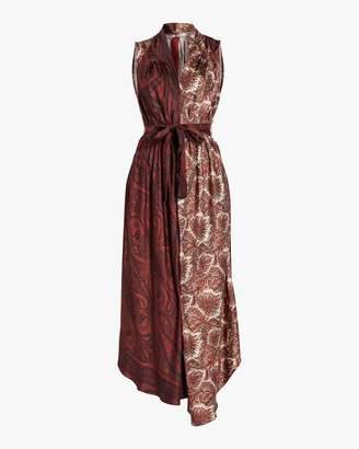 ADAM by Adam Lippes Printed Silk Twill Asymmetrical Dress