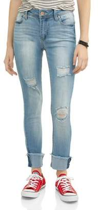 Almost Famous Juniors' Destructed Rolled Cuff Crop Jeans