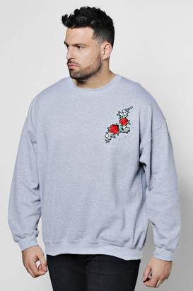 boohoo Big And Tall Rose Chest Embroidered Sweater