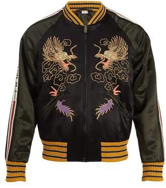 Gucci Dragon Embroidered Bomber Jacket - Mens - Black Multi