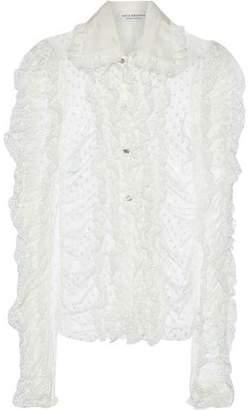 Philosophy di Lorenzo Serafini Ruffled Lace-trimmed Swiss-dot Tulle Blouse