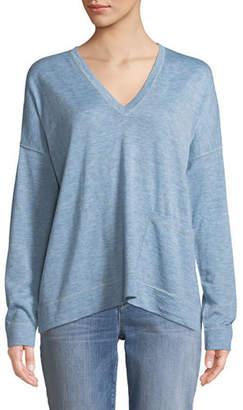 Eileen Fisher Fine Tencel-Alpaca Topstitch V-neck Pullover Sweater, Petite