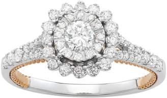 Vera Wang Simply Vera Two Tone 14k Gold 3/4 Carat T.W. Diamond Halo Engagement Ring