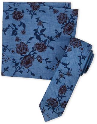 Original Penguin Navy Simmons Floral Tie & Pocket Square Set