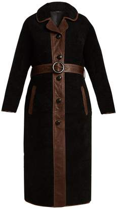 Reyk leather-panelled shearling coat