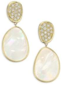 Marco Bicego Diamond Lunaria Double Drop Earrings With Mother-Of-Pearl