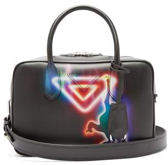 Prada - Monkey Print Leather Bowling Bag - Womens - Black Multi